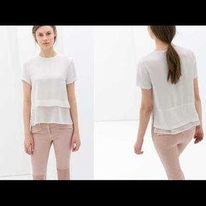 ⭐️2/20$! Zara white double layer top - xs
